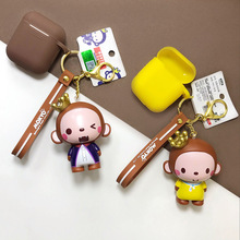 Cartoon Crown Monkey Doll Keychain pvc Animal Keyring Wireless Bluetooth Earphone Case for Airpods Protective Cover pvc cartoon comic doll