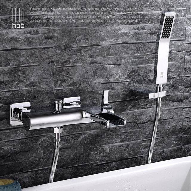 Full Copper Waterfall Bathtub Tap Three Connect Shower Cold Hot