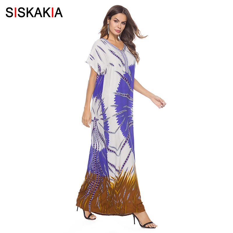 Aliexpress.com : Buy Siskakia ethnic print Embroidery long dress Summer  2018 fashion maxi dresses urban casual plus size t shirt dress white blue  from ...