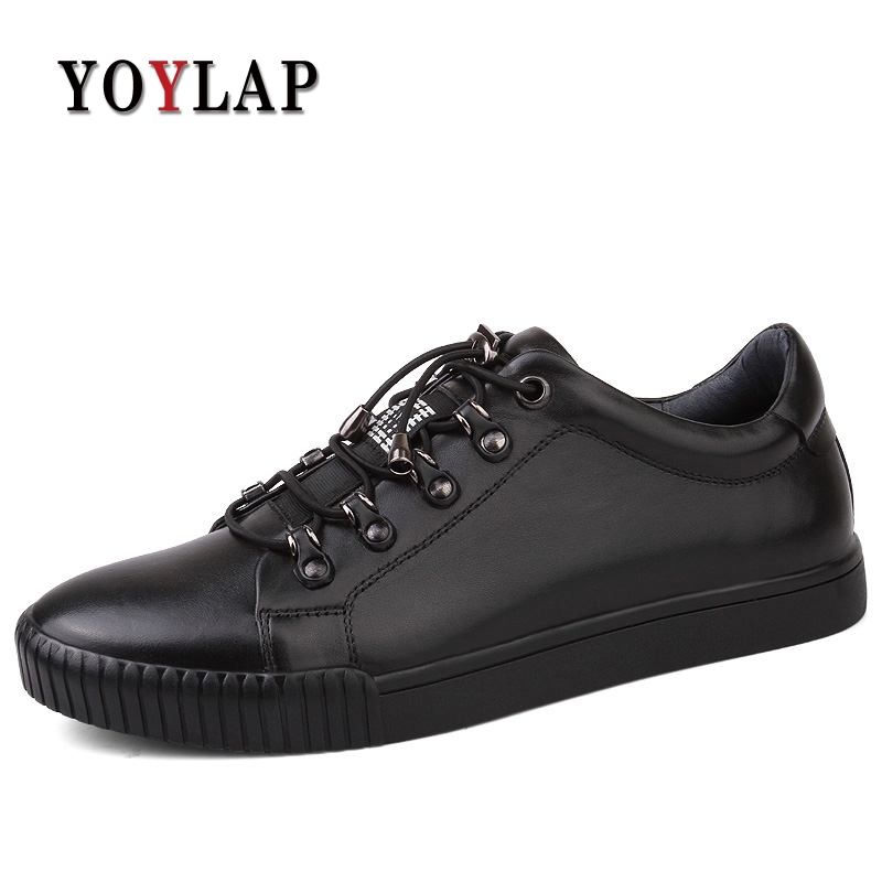 2018 New Spring Autumn Genuine Leather Shoes Men Black Lace-up Flat Men Casual Shoes Warm Fur Winter Shoes Men Sneakers heyiyi men s 3d print casual shoes white black full grain leather flat lace up spring autumn rubber sole shoes