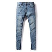 American Streetwear Men Jeans Blue Color Elastic Skinny Jeans homme Denim Casual Pants