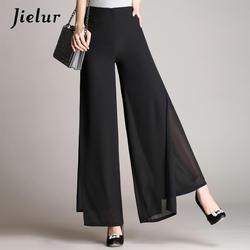 Jielur летние шикарные брюки с высокой талией женские черные двухслойные шифоновые широкие брюки офисные женские свободные брюки для женщин