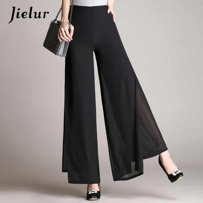 Jielur Summer Chic High Waist   Pants   Female Black Double-layer Chiffon   Wide     Leg     Pants   Office Lady Loose Trousers for Women S-4XL