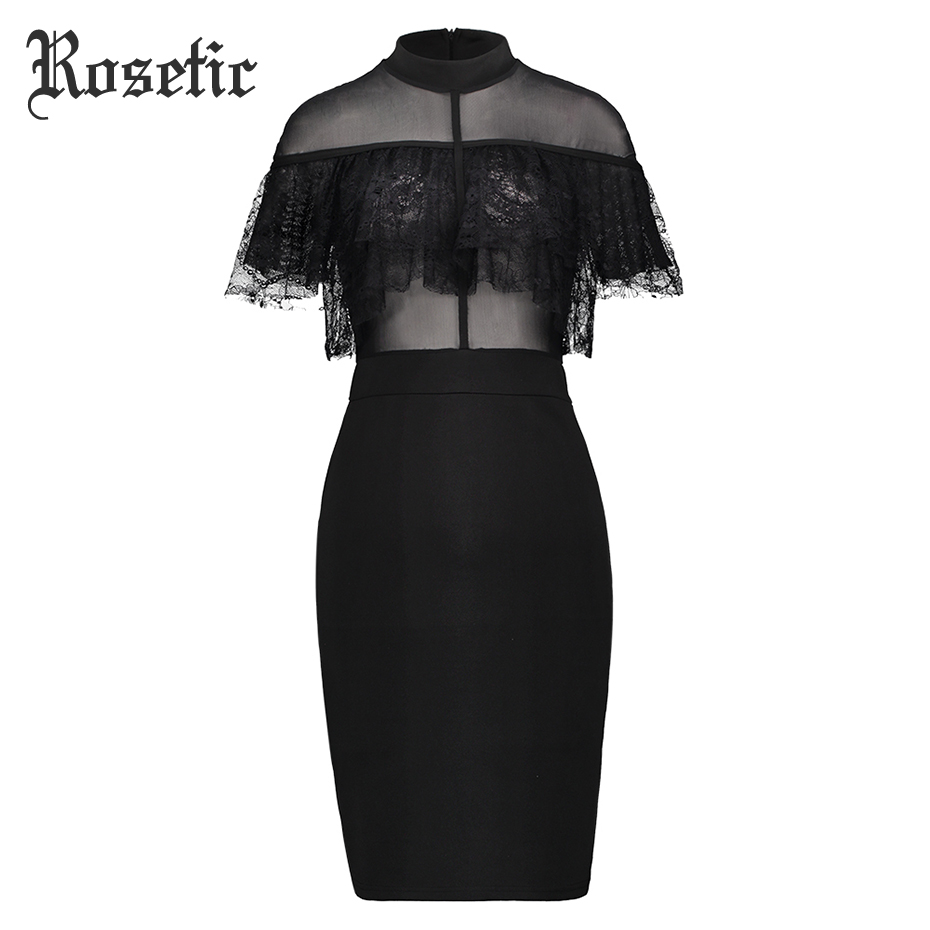 Rosetic Gothic Bodycon Dress Midi Lace Mesh Summer Women Casual Party Prom Club Elegant Sexy Bodycon Knee Length Party Dresses
