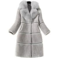 Parkas Mujer 2018 Fur Coat Winter Women Ladies Long Sleeve Warm Jackets Fashion Faux Mink Fur Coat Female Fox Fur Collar Parka