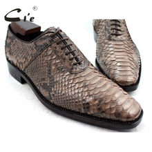 cie Square Toe Bespoke Custom Handmade Python Skin Calf Leather Outsole Breathable Men's shoe NoSN1 Goodyear welted Color Brown