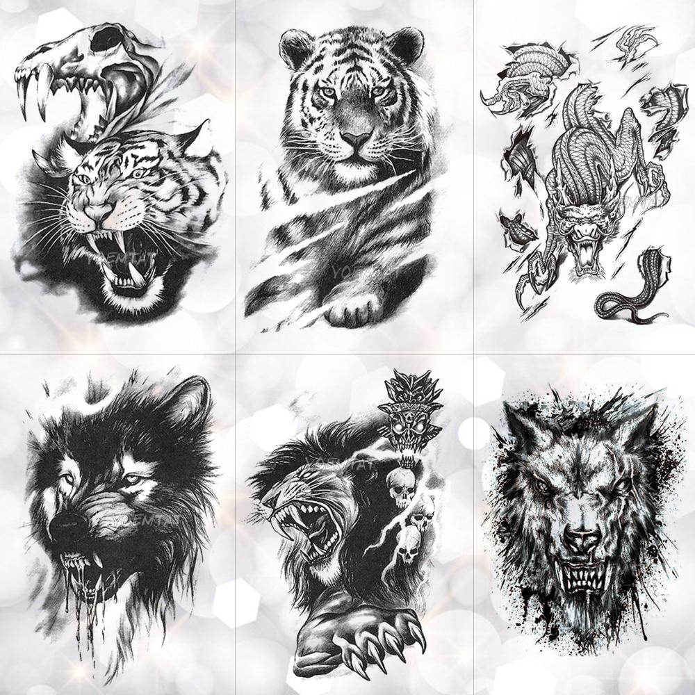 Tiger Skull Leopard Dragon Waterproof Temporary Tattoo Sticker Wolf Animals Tattoos Body Art Arm Hand Men Fake Tatoo