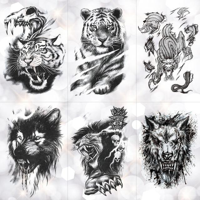 3c7239f8519ae Tiger Skull Leopard dragon Waterproof Temporary Tattoo Sticker Wolf Animals  Tattoos Body Art Arm Hand men
