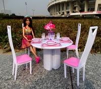 Novo estilo de jogo conjunto para barbie móveis 1/6 bjd bonecas sala estar mesas e cadeiras casa boneca acessórios brinquedos do bebê|for barbie|barbie play set|furniture for barbie -