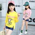 5 6 7 8 9 10 11 12 13 Years Girl T Shirt Kids Tops 2017 Spring Children Clothes For Teenagers Baby Girl Cartoon Print Tees