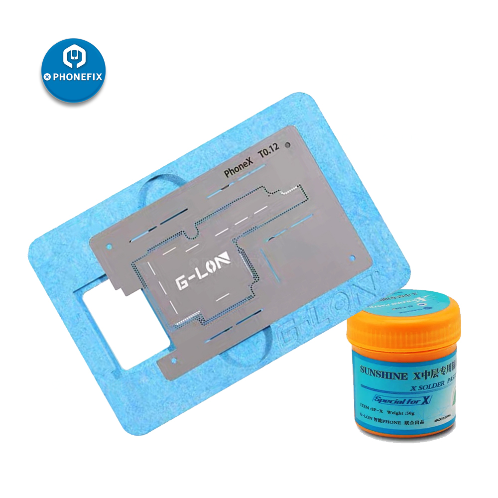 PHONEFIX G-Lon Middle Layer Board BGA Reballing Stencil Plant Tin Platform For IPhone X Motherboard Repair With Solder Paste