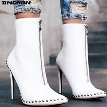 TINGHON New Arrival Fashion Autumn Women Ankle Boots Rivet High Heels Shoes Woman Pointed Toe Sexy Motorcycle boots 35-42