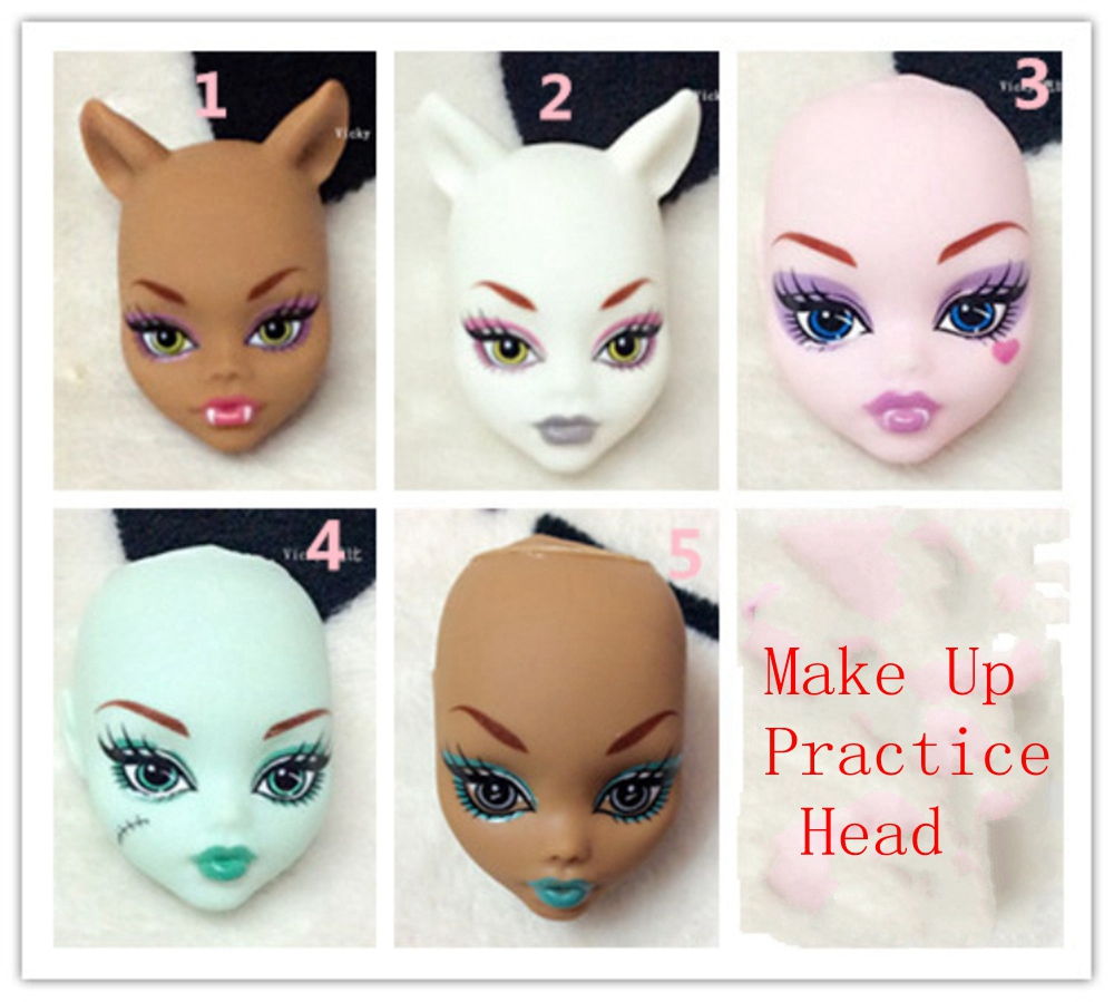 Soft Plastic Practice Makeup Doll Heads For Monster High Doll BJD Doll's Practicing Makeup Monster  Head Without Hair