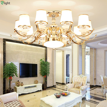 Modern Gold Metal Led Chandeliers Lighting Living Room Mable Led Pendant Chandelier Lights Dining Room Led Hanging Lamp Fixtures