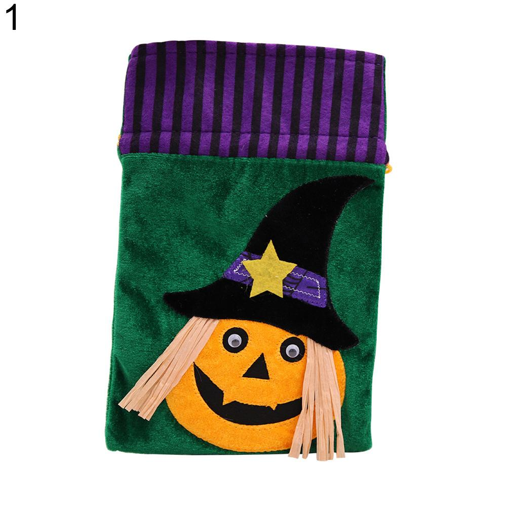 Cartoon Halloween Candy Gift Bag Kids Trick or Treat Drawstring Cloth Pouch