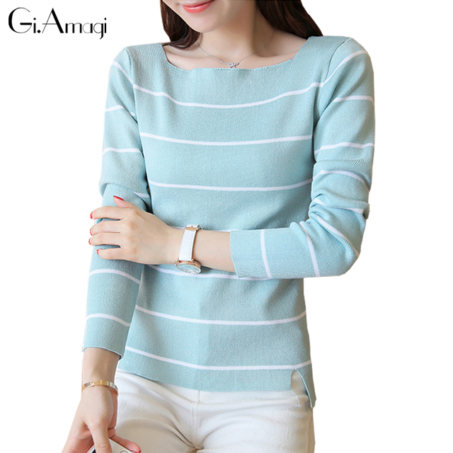 2017 New Spring Women Sweaters Fashion A Word Neck Striped Pullovers Plus Size Loose Knitted Sweaters Female Jumper Tops