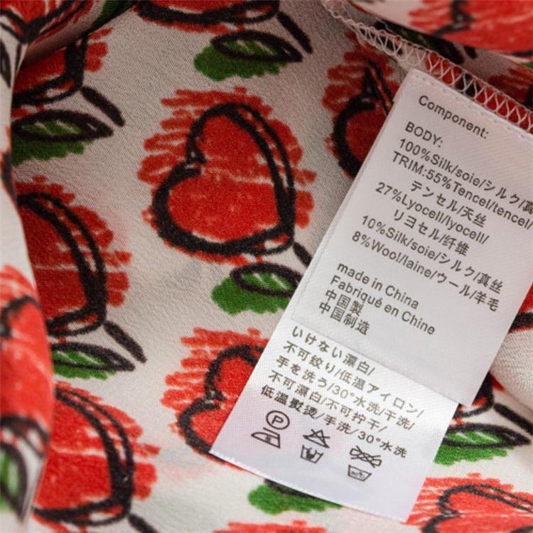 Nueva llegada 100% seda mujer moda impresa suelta camiseta suéter tops Oneck rojo uno y más tamaño - 4