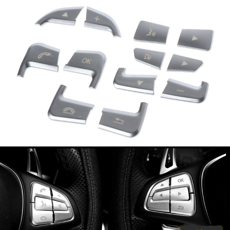 12 шт./компл. наклейка на кнопку рулевого колеса Декоративные Чехлы для Mercedes Benz GLC C Class A B GLA CLA CLS GLE GLS GLK