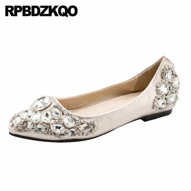 a33aa0942a417d Flats Silver Rhinestone Crystal Sparkling Designer Pointed Toe Gold China  2018 Diamond Slip On Wedding Ballet