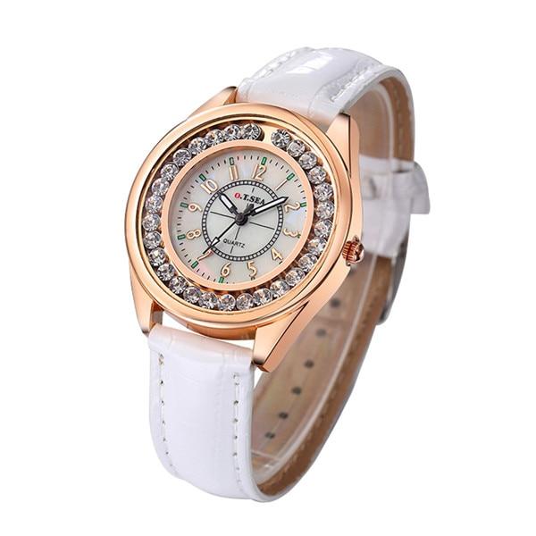Luxe O. T. AS Merk Strass lederen horloges vrouwen dames kristal jurk quartz horloges Vrouwelijke Klok OTS039