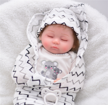 Comfortable and soft Boneca Bebe Reborn Doll 40cm Silicone Reborn Baby Dolls closed eyes Imitate baby sleeping cute Boy Dolls