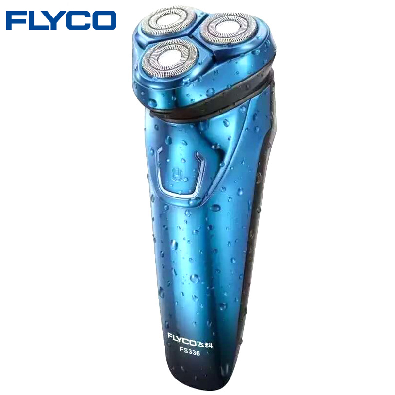Hot FLYCO Washable Rechargeable Rotary Men's Electric Shaver Razor with 3D Floating Heads 1 Hour Quick Charge Hair Removal FS336 электробритва flyco 3d fs370fs372