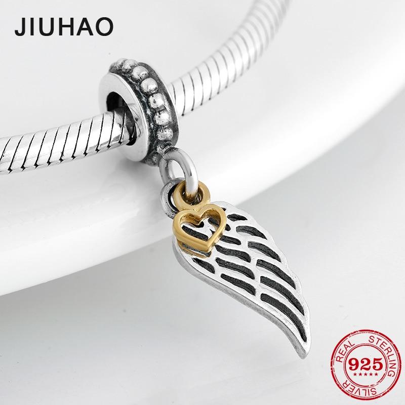 New 925 Sterling Silver Wings Of Angel 925 Sterling Silver Fine Pendant Beads Fit Original Pandora Charm Bracelet Jewelry Making