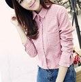 Blusas de outono outono e inverno das mulheres de algodão lixado feminino longo-luva camisa xadrez Mulheres camisa de Flanela 100% algodão Tops S615