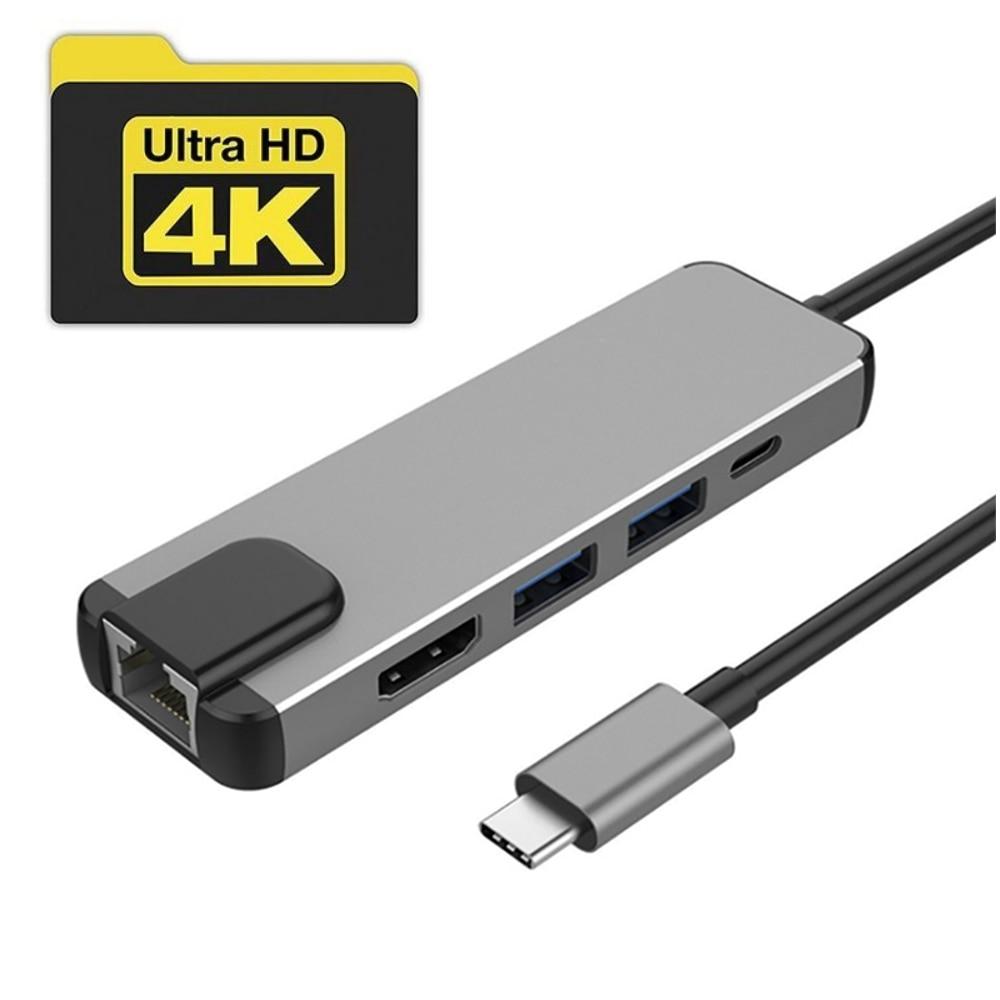 Adaptateur Multiport 5-en-1 à moyeu USB C Type C à 5 ports vers HDMI/USB3.0/Gigabit Ethernet Rj45 répartiteur de moyeu de convertisseur Lan pour Macbook Pro