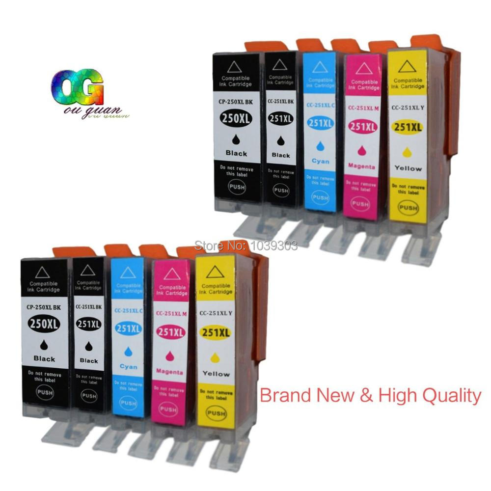 10 Ink Cartridge Chip Pgi 250xl Cli 251xl Compatible For Canon 751 Yellow Xl Pixma Mg5620 Mg6620 Printer In Cartridges From Computer Office On
