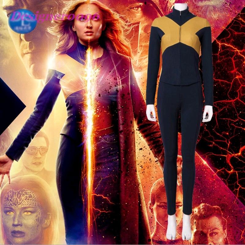 2019 new movie X-Men: Black Phoenix Jean Grey Cosplay Movie character tight-fitting clothes set 3D digital printing Marvel