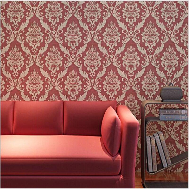 Beibehang Bedroom wallpaper non woven kain Eropa interior 3D Damaskus ruang dinding wallpaper dinding TV