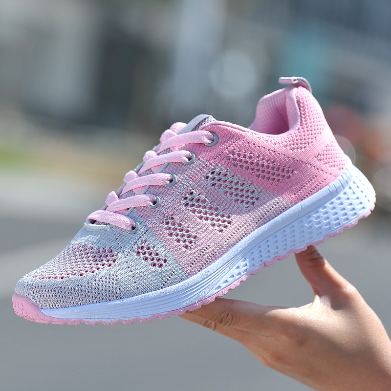 2018 Summer Flying Weave Women's Shoes Breathable Mesh Sports Running Shoes Female Flat Shoes Outdoor Walking Woman Sneakers