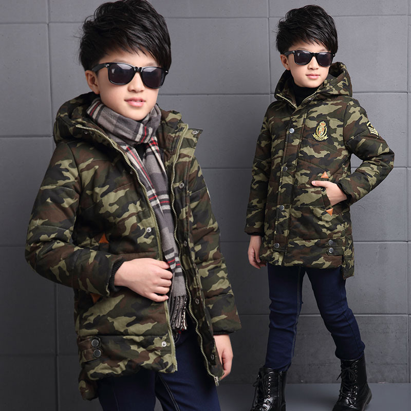 Camouflage Thicken Winter Jackets For Boys Long Hooded Coats Kids Warm Tops Clothes Children Rocket Pattern Outerwears Clothing winter jackets for boys 2017 fashion girl thicken fur hooded children down coats outerwear warm tops clothes big kids clothing