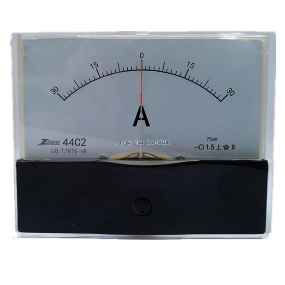 Аналоговый амперметр DC -30A-0-30A +-30A 50A, панель амперметр, измеритель тока 44C2 амперметр