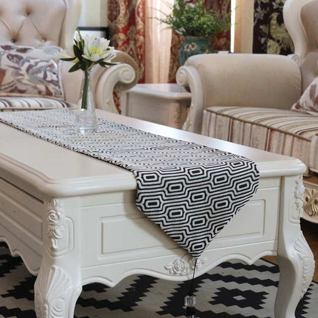 Jacquard Flowers Geometric Lattice Stripes Table Runner Placemats Fabric  Coffee Table Flag Bed Runner