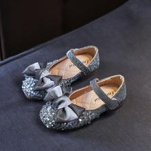 Rhinestone cute bowknot flats gold silver size 21-36