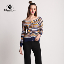Sexy Slash Neck Sweater Knitted Sweater Cardigans Geometric EE Winter Women Sweater Cardigans New 2016 Autumn