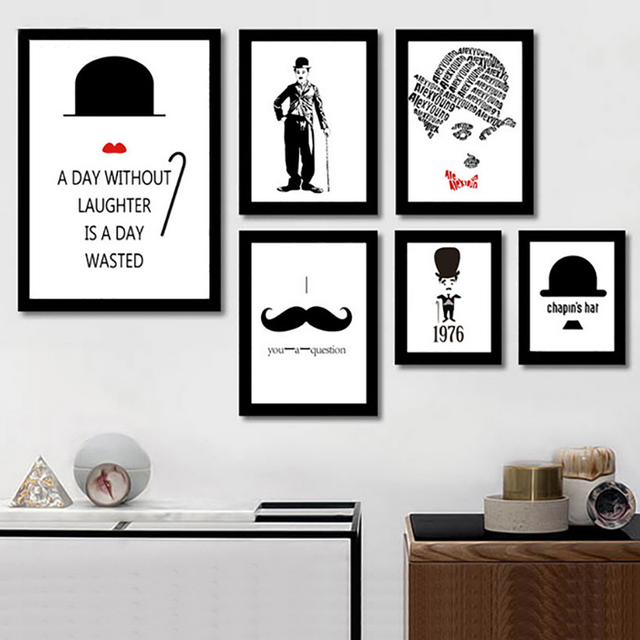 Classic chaplin quotes figure canvas painting movie poster wall art prints pictures for office living room