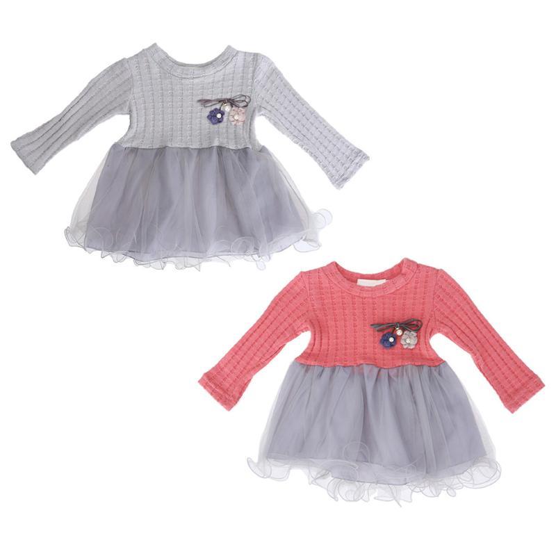 5b03cd1ecf1b Cute Baby Girls Autumn Winter Dress Pattern Flower Decoration ...