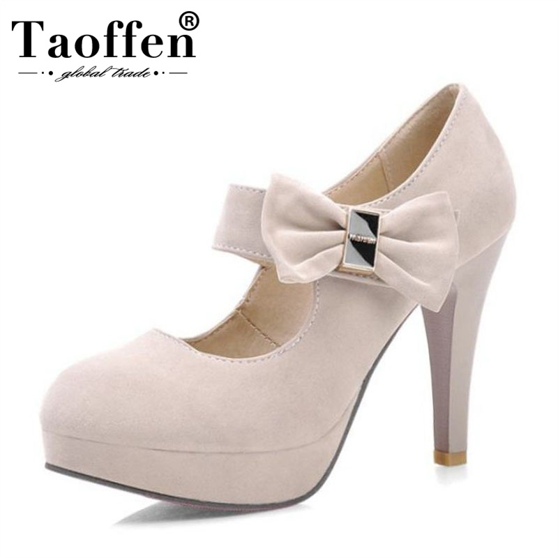 Taoffen 4 Candy Colors Ladies High Heel Shoes Women Bowknot Platform Daily Party Wedding Pumps Round Toe Thin Heels Size 31-42Taoffen 4 Candy Colors Ladies High Heel Shoes Women Bowknot Platform Daily Party Wedding Pumps Round Toe Thin Heels Size 31-42
