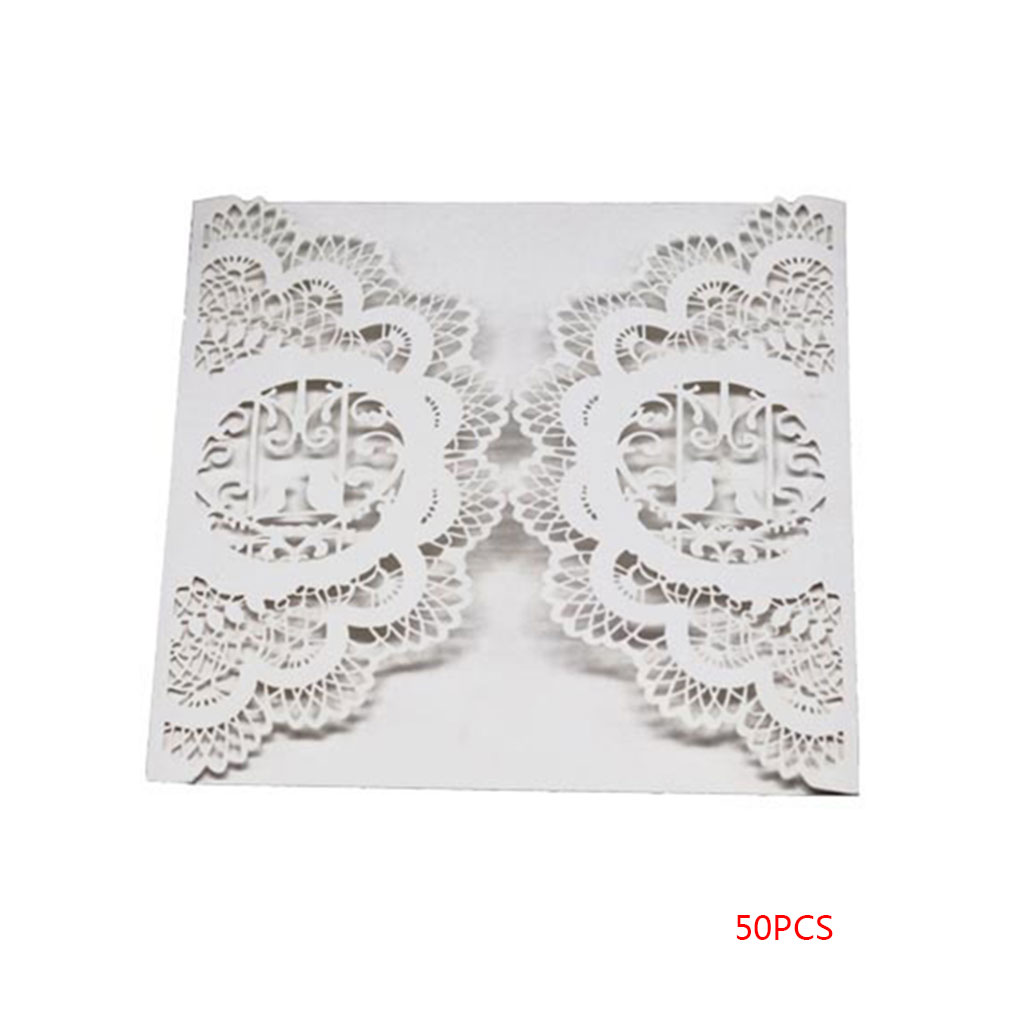 New 50pcs Pearl Paper Lace Invitation Card Hollow Out Carved Crafts Wedding Bridal Card
