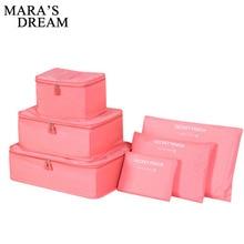 Mara's Dream 6pcs Polyester Travel Packing Cubes Portable Wa