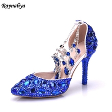 Handmade Wedding Shoes Women Summer Sandals Crystal News Lady Big Size High Heels Princess Shoes Blue Rhinestone Sandal XY-A0087 handmade women pumps princess shoes pearl rhinestones wedding shoes crystal adult ceremony super high heels xy a0044