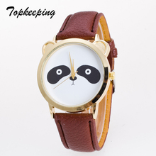 Topkeeping Brand 2018 Nuevas Mujeres Relojes de pulsera de Cuarzo Kawaii Animal Panda Patrón Adolescente Niños Niñas Casual Fashion Wristwatches