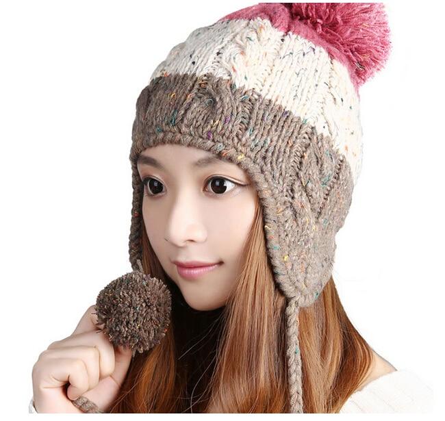 BomHCS Warm Winter Wool Knit Hats Women Lady Handmade Ear Muff Beanie Skully Cap