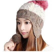 Симпатичные теплая зима шерсти вязать шапки женщины леди ручной халява уха шапочка Skully Cap