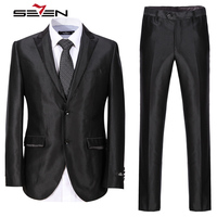 Seven7 Новое поступление 2017 года Для мужчин костюмы 3 предмета смокинг для жениха свадебный костюм для Для мужчин Жених мужской пиджак брюки жи