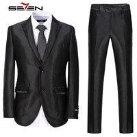Seven7 Brand Men Dress Suits 3 Pieces Jacket And Pants And Vest 2 Button Front Suits