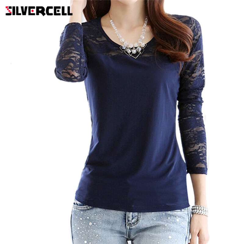 SILVERCELL Sexy Long Sleeve Blouse for Women O Neck Stitching Lace Floral Shirt Base Layer Tops Plus Size S-XXL